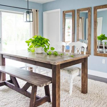Farmhouse Dining Table, Rustic Dining Table, Wood Farmhouse Dining Table by ArcherHomeDesigns