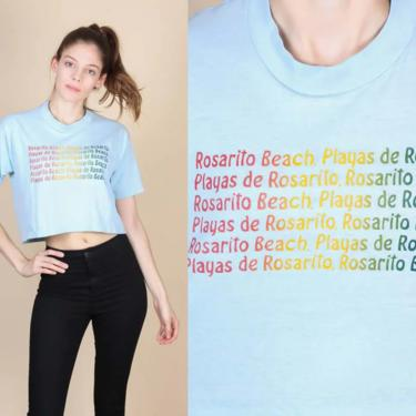 Vintage Playas de Rosarito Cropped T Shirt   70s 80s Rainbow Mexico Graphic Travel Tee by FlyingAppleVintage