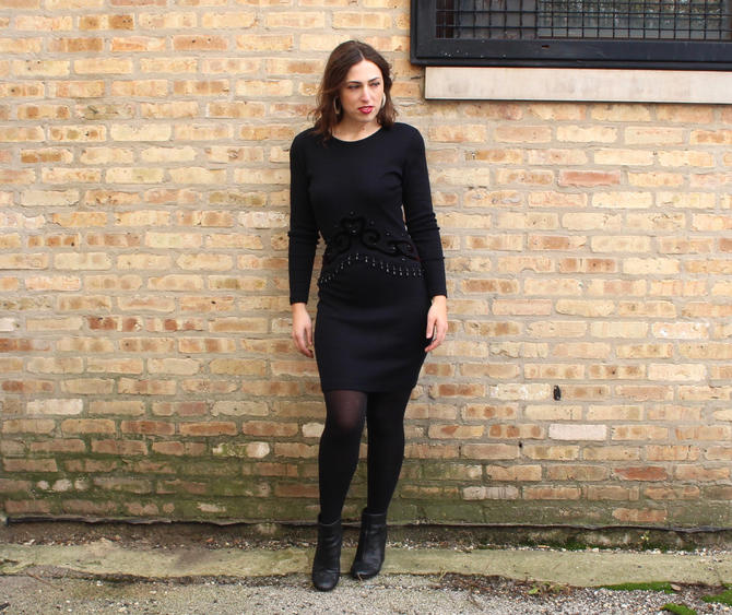 Vintage 1990s Beaded Sweater Dress - Black Wool Long Sleeve Stretchy Mini Dress - S by SecondShiftVintage