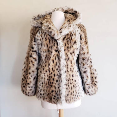 1970s Faux Fur Animal Print Jacket Hooded / 70s Button Down Leopard Print Jacket / Small to Medium /  Manette by RareJuleVintage