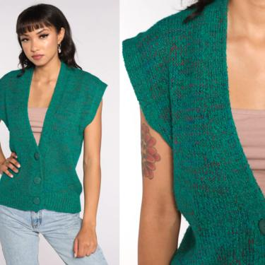 Flecked Sweater Vest Top Green Button up Sweater 80s Cap Sleeve Knit Top Boho Hippie Vintage Deep V Neck Sleeveless Medium by ShopExile