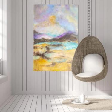 Ocean Sunset Seascape Canvas Art Print ~ Nautical Beach House Art ~ Coastal Beach House Art ~ Beach House Art ~ Gold Leaf Fine Art Print by DareToBeVintage