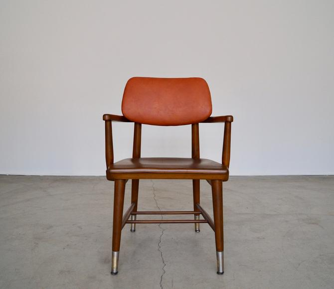 Rad 1950's Mid-century Modern Arm Chair Refinished & Reupholstered in Leather! by CyclicFurniture