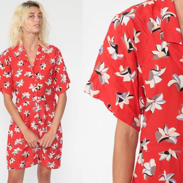 Red Floral Dress Kimono Sleeve Mini Button Up 80s Vintage Boho Secretary Shirtwaist High Waisted Short Sleeve 1980s Collar Small by ShopExile