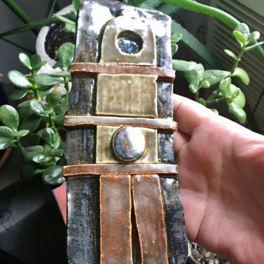 """Unique Abstract Ceramic Wall Art Plaque is hand built with khaki, olive, bronze glaze 3"""" W x 7.5"""" H by MadCoolNYC"""