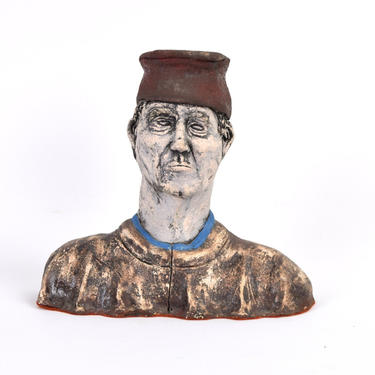 Vintage Outsider Art Studio Pottery Bust Sculpture of Dante Alighieri by PrairielandArt