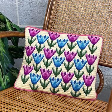 Vintage Pillow Retro 1970s Bohemian + Homemade + Crochet + Tulip Flower Design + Rectangular + Decorative + Home Decor + Textile + Fiber Art by RetrospectVintage215