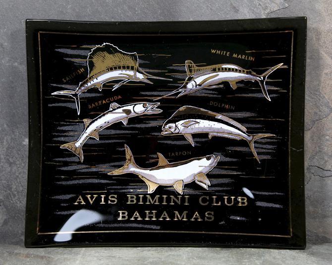 Bahamas Vintage Ashtray, Avis Bimini Club - Dark Grey Smokey Glass Trinket Dish - Fisherman's Delight - Bahamas Souvenir   FREE SHIPPING by Trovetorium