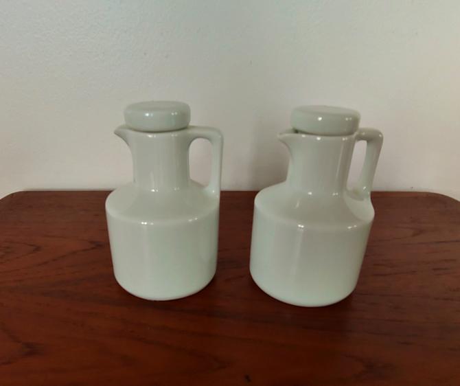 Vintage White Porcelana Cruet Set by Schmidt Brasil MCM Brazil by ModandOzzie