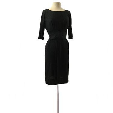 Vintage 60s raw silk black cocktail dress/ oversized bow/ Jennifer Juniors of Dallas/ Mad Men party dress/ formal evening dress/ LBD by Vintagiality