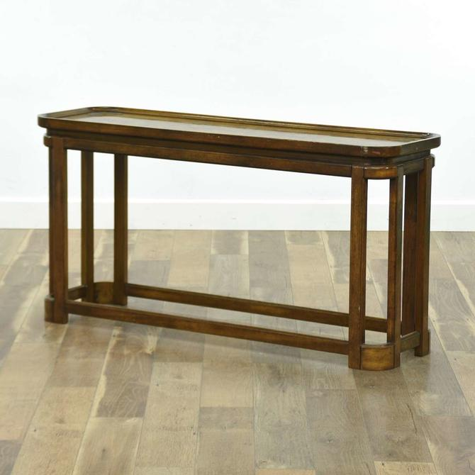 Art Deco Console Table W Burled Top & Brass Detail