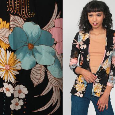Black Floral Jacket 70s Boho Blouse Wrap Shirt Long Sleeve Open Front Blouse 1970s Bohemian Hippie Top Vintage Small Medium by ShopExile