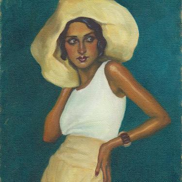Portrait of Renée Perle. Archival Art Print from Original Oil Painting by Pat Kelley. Vintage Fashion, Flapper, 1920s, Female Figurative by PatKelleyStudio
