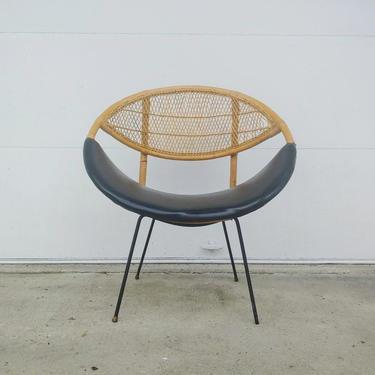 Vintage Modern Salterini Clam Shell Style Wicker Hoop Chair by ModandOzzie