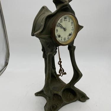 Art Nouveau Bronze and Iron Mantle Clock New Haven Clock Company by HarveysonBeverly