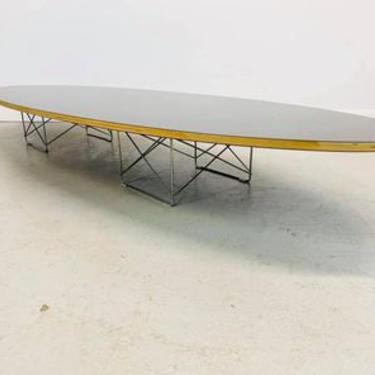 Herman Miller Charles & Ray Eames mid century modern black top Elliptical coffee table by AtomicJunkiesGallery
