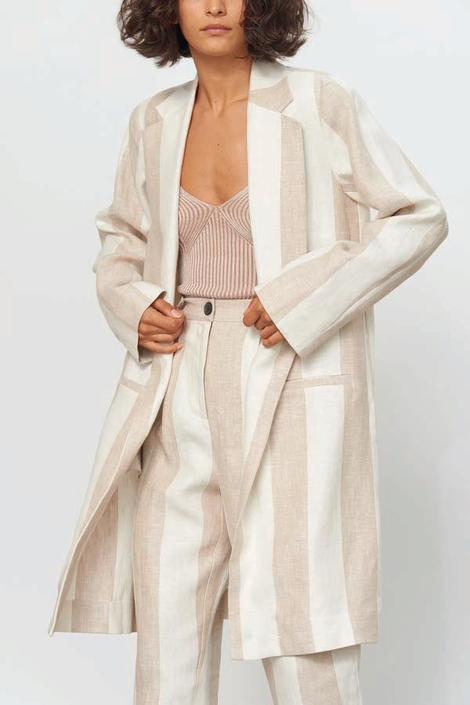 Bia Jacket in Striped Organic Linen