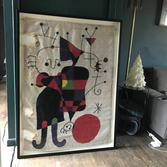 1950s Joan Miro Tapestry Rug Framed Vintage Mid-Century Wall Hanging by BrainWashington