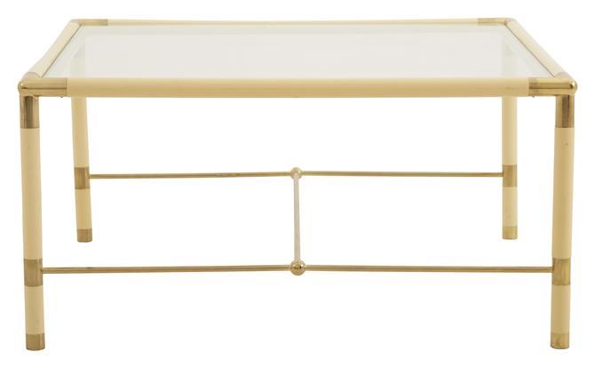 Vintage Cream & Brass Square Table