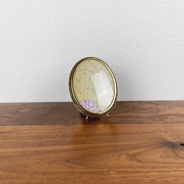 Vintage Small Footed Oval Bubble Brass Frame • Ornate Filigree by SonjloStudio