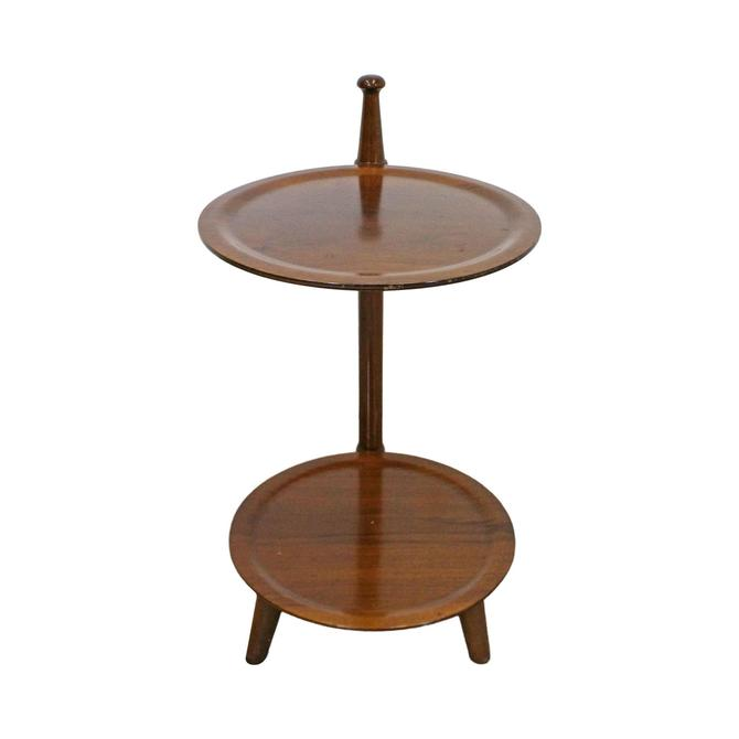 Mid-Century Modern Walnut 2-Tier Plant Stand End Table by AnnexMarketplace