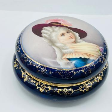 Lovely Hand Painted Portrait Trinket Box   Cobalt Blue and Gold  - 19th Century- Excellent Condition by JoAnntiques