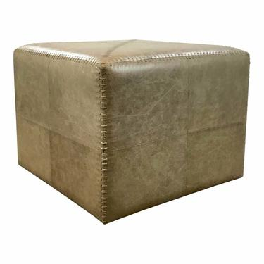 Jamie Young Modern Large Taupe Leather Ottoman