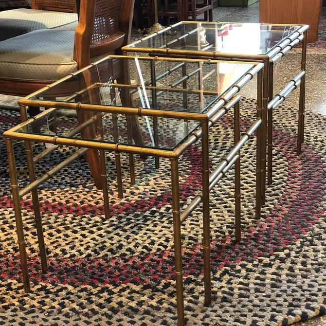 Gold bamboo motif nesting tables in two sizes : $60 and $70 each