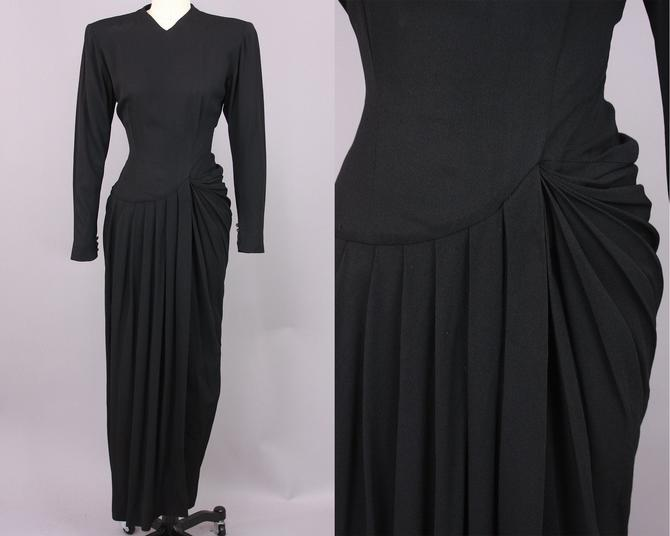 1940s Asymmetrical Rayon Crepe Gown | Vintage 40s 'Herbert Sondheim' Black Evening Dress | small by RelicVintageSF