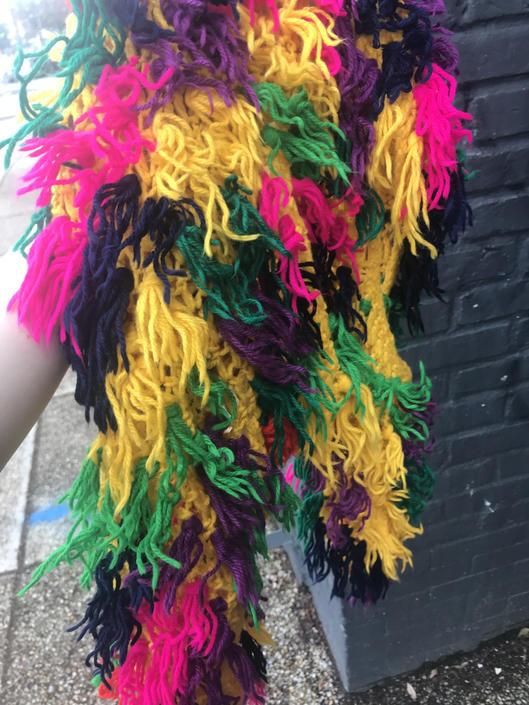 Vintage 60s Rainbow Acrylic Crochet Cropped Vest by SHOPTREASURY