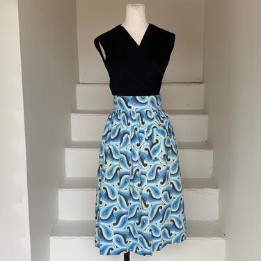1940s Blue Paisley Summer Cotton Vintage Skirt 30 Waist High Waisted by AmalgamatedShop