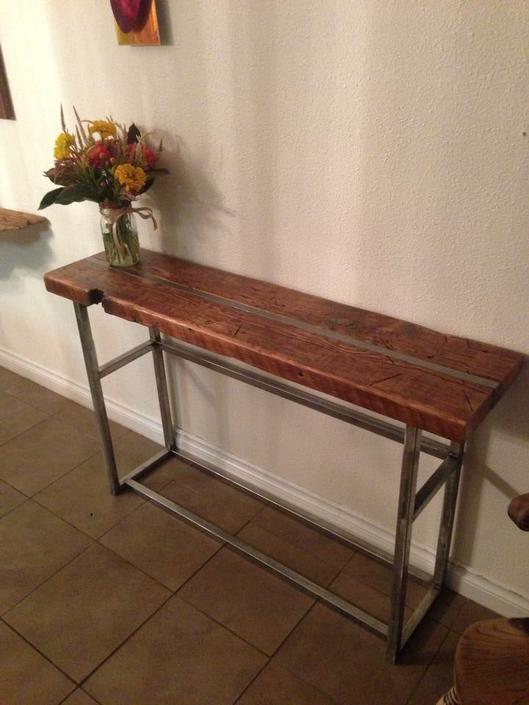 Reclaimed wood media table.  Industrial Sofa table. Industrial  Console table.  Entry table.  Reclaimed wood table. Industrial table. by UrbanIndustrialNW