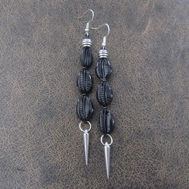 Cowrie shell earrings, painted shell earrings, long black Afrocentric African tribal dangle earrings, abstract goth earrings, modern by Afrocasian