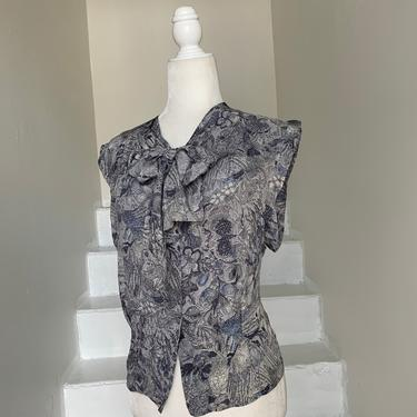 1940s Sleeveless Silk Blouse Muted Grey and Blue Floral 42 Bust Vintage by AmalgamatedShop