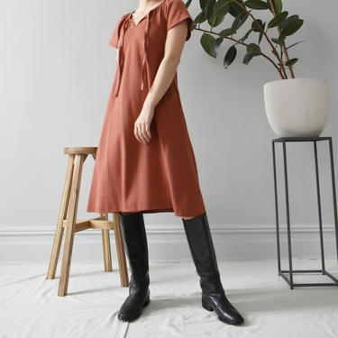 vintage 70s terra cotta a-line knee length dress with pockets, size XS / S by ImprovGoods