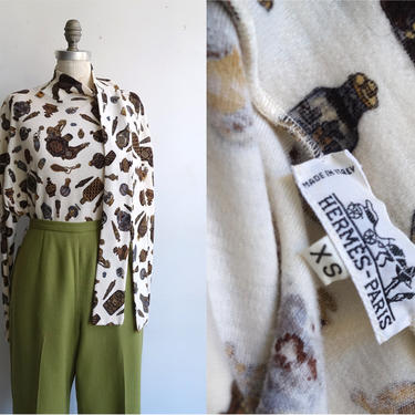 Vintage 80s Hermes Perfume Dolman Sleeve Top/ 1980s Long Sleeve Knit Tie Neck Sweater/ Size Small by bottleofbread