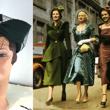 Strength in Numbers - Vintage 1940s Forest Green Wool Felt Sculpted Caplet Hat w/Matching Veil by RoadsLessTravelled2