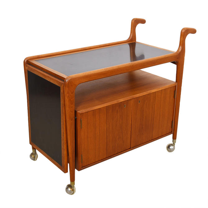 Danish Modern Falster Teak Expandable Bar Serving Cart