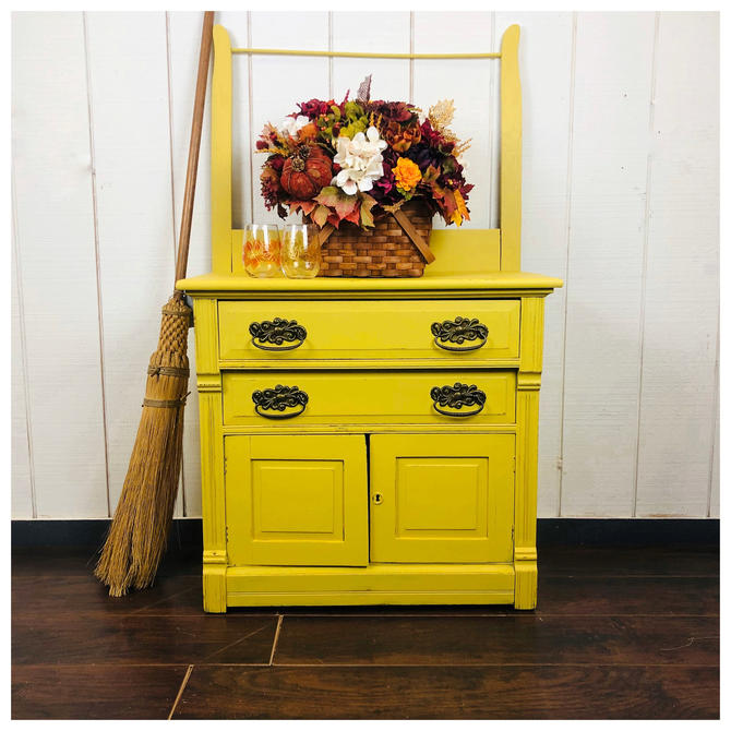 Antique wash stand, oak, painted Paint Couture Custom yellow by RustandRefind