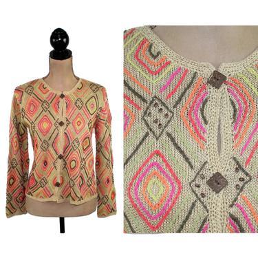 Sigrid Olsen Embroidered Cardigan Sweater Women Small Boho Tribal Geometric Diamond Knit Ramie Silk Beige Orange Pink Vintage Clothing 90s by MagpieandOtis