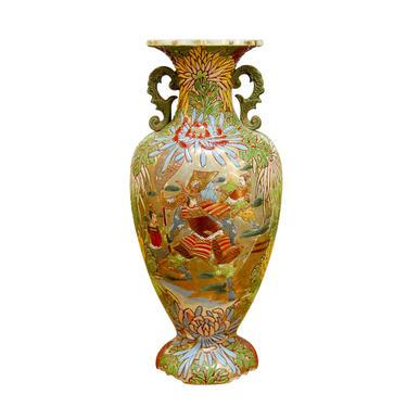 Japanese Satsuma Vase with Hand Enameled Warrior Scene by ErinLaneEstate