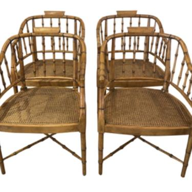 Four Cane & Faux Bamboo Chairs