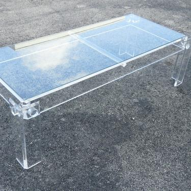 Mid Century Modern Lucite Acrylic and Glass Top Coffee Table 2053