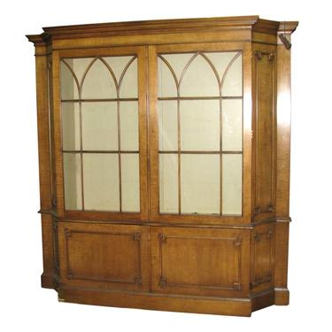 Antique Carved Solid Maple China Closet