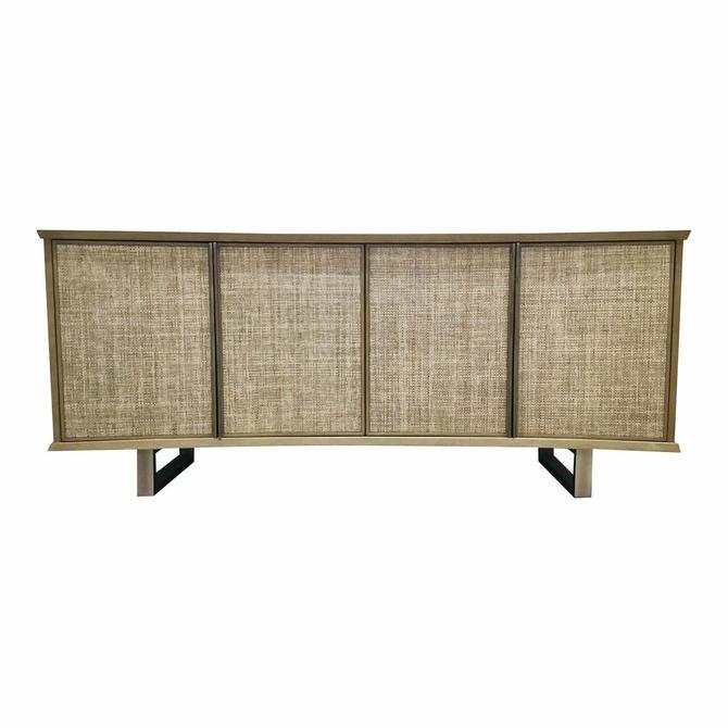 Studio A Home Organic Modern Greige Grasscloth Delphi Media Cabinet