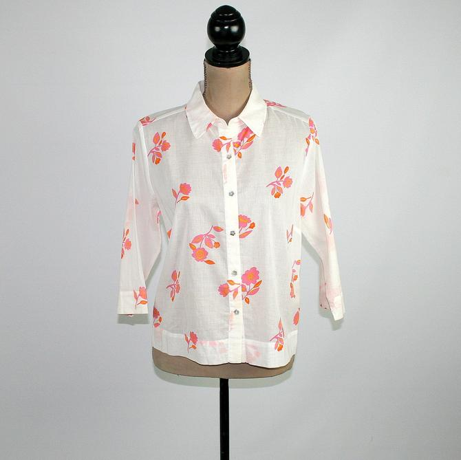 Vintage 90s Semi Sheer Button Up Blouse Medium, White with Pink & Orange Floral Print Shirt, 3/4 Sleeve Cotton Boxy Top Casual Clothes Women by MagpieandOtis