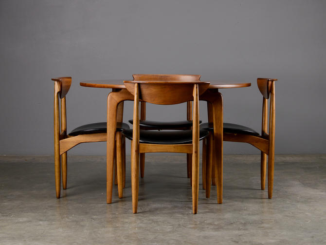 Mid Century Dining Set Table and 4 Chairs Lane Perception Walnut by MadsenModern