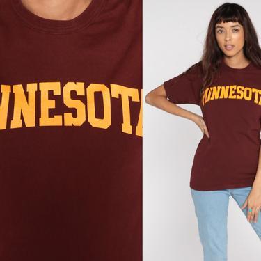 University of Minnesota Shirt Burgundy Champion Shirt 90s Tee Shirt Vintage Tshirt Graphic College T Shirt Small xs s by ShopExile