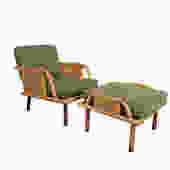 Ficks Reed Arm Chair  and Ottoman Bamboo and Rattan Mid Century by HearthsideHome