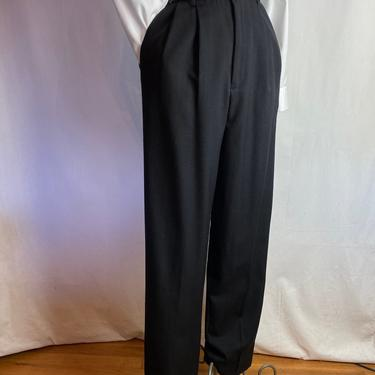 """90's wooly pleated high waisted slacks~black wool Women's trousers /pants~ size 26"""" waist X Small by HattiesVintagePDX"""